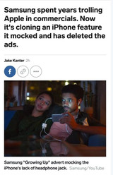 三星删除嘲笑苹果取消耳机孔的视频,怕自己打自己脸?