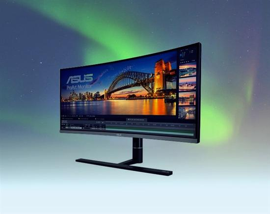 华硕推出34英寸带鱼屏曲面显示器:专业级色彩调教