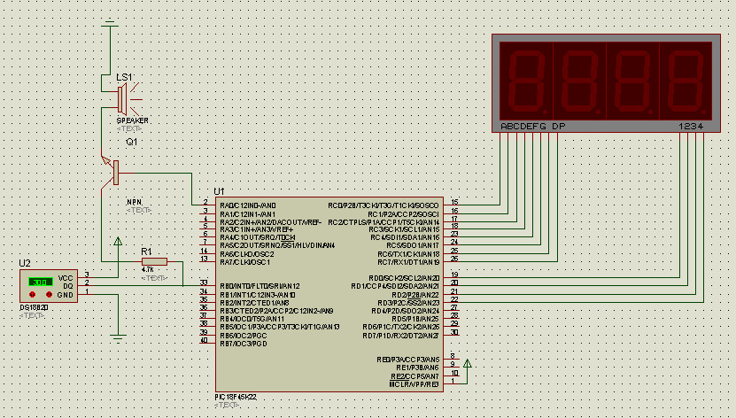 PIC单片机DS18B20温度报警程序及仿真