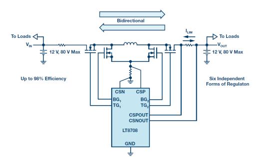 通過12 V至12 V雙向DC/DC控制器實現汽車雙電池冗余