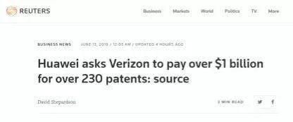 华为要求美国最大运营商支付69亿元专利费