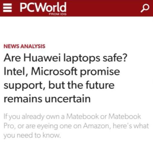 英特尔和微软承诺将继续向华为提供支持