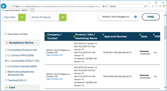 国民技术NZ3802产品获得EMVCo资质证书