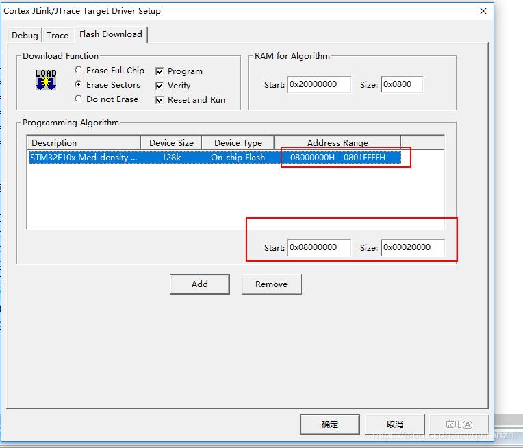 STM32F103CB 芯片FLASH DOWNLOAD编程地址范围设置相关问题记录