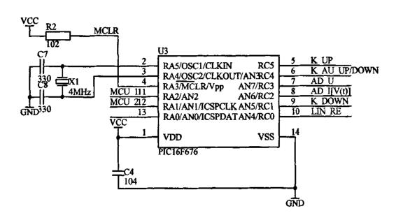 图二:PIC16f676电路图