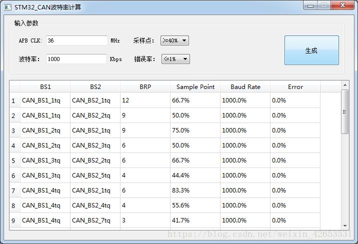stm32CAN波特率计算小程序(QT源码)