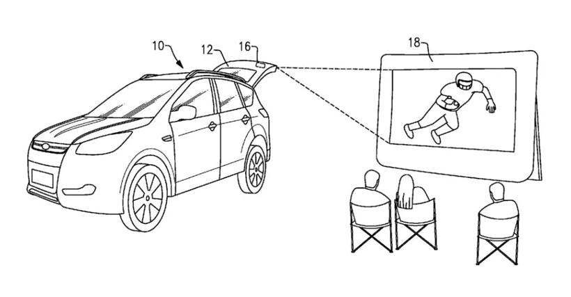 福特将汽车变成移动影院? 新专利揭示汽车后挡板将装投影仪