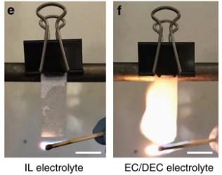 新型离子液体电解质使纳金属电池更加安全