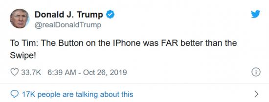 库克回应特朗普吐槽面容ID不如Home键:我将给他演示