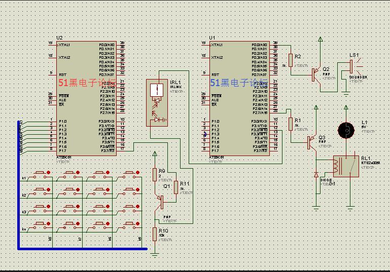 单片机红外线遥控开关实验 Proteus仿真加源程序
