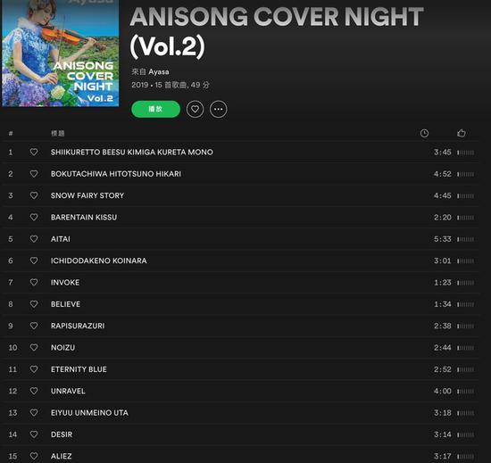 ▲(Artist :Ayasa | 专辑:《ANISONG COVER NIGHT Vol.2》| 连接和设备:NW-ZX300A(LDAC)| 规格:24bit 96kHz Hi-Res | 降噪模式:降噪开)