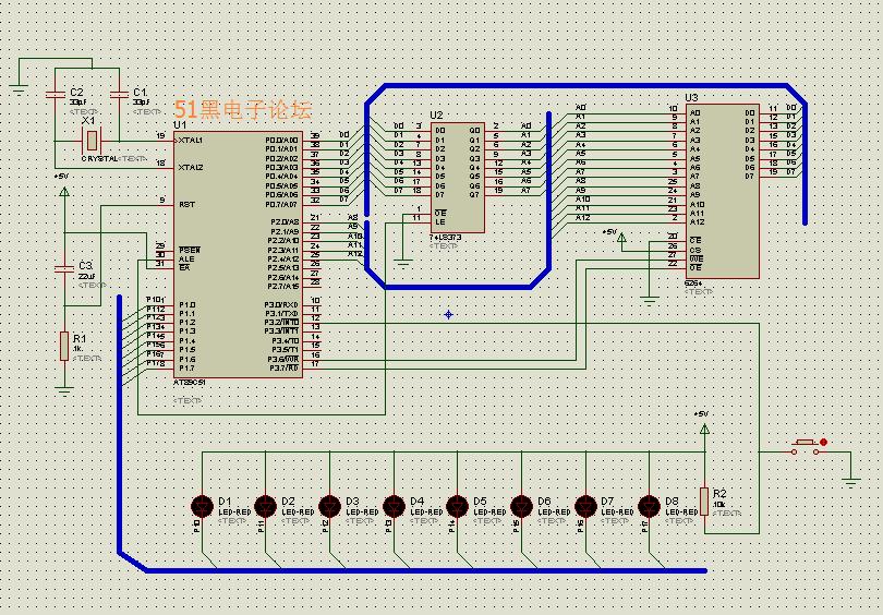 51单片机扩展数据存储器RAM proteus仿真