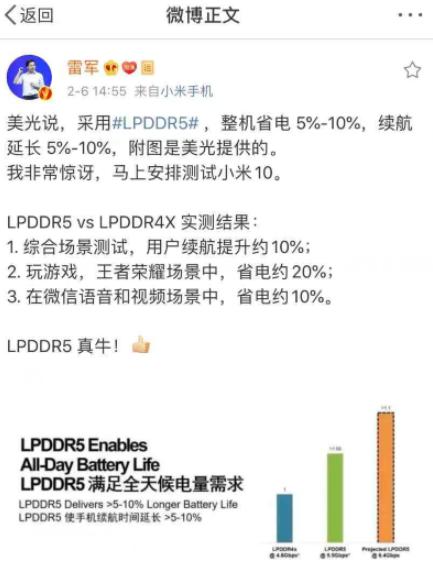美光科技宣布LPDDR5量产,率先被小米10采用