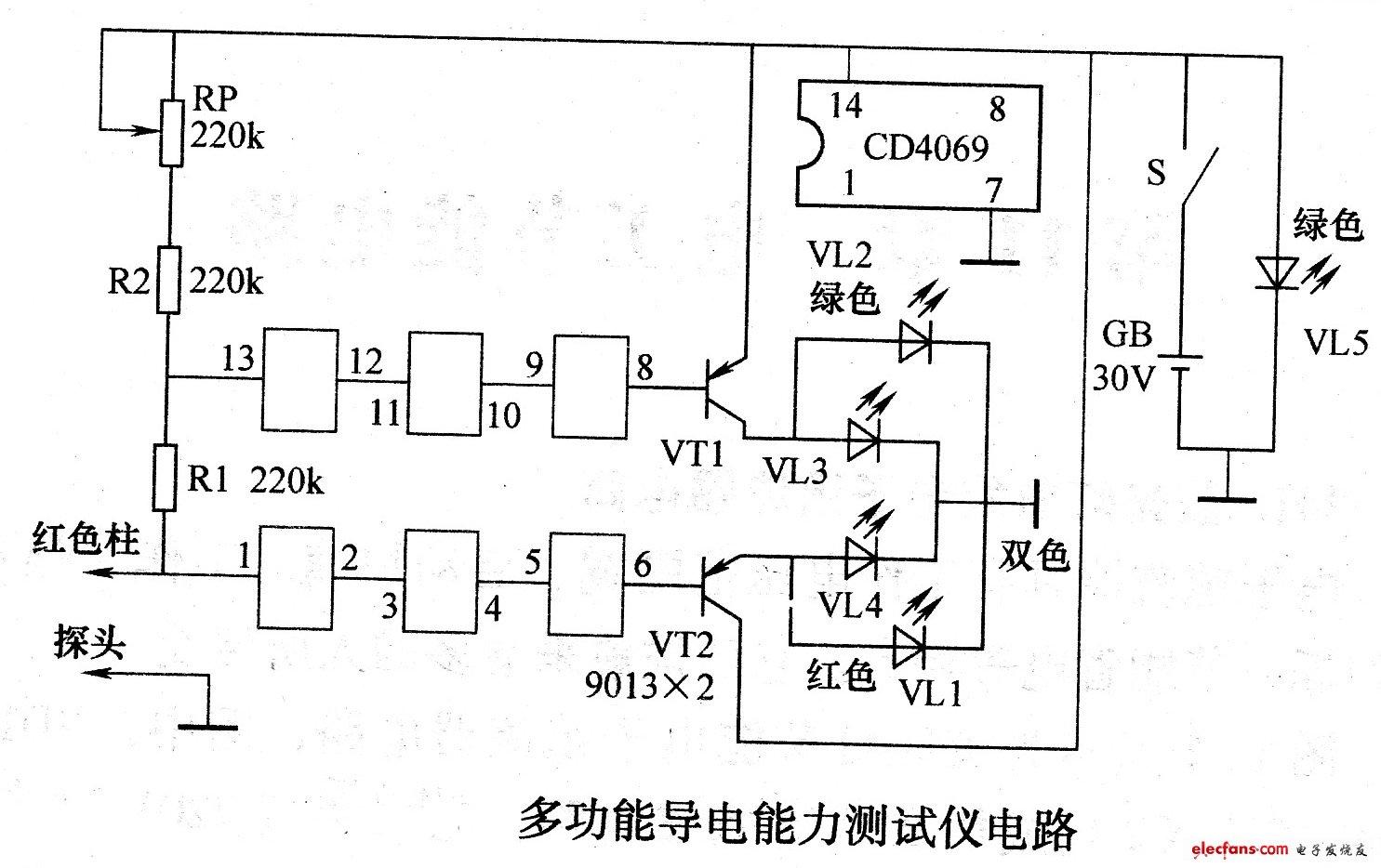 MAX1582构成的多功能导电能力测试仪电路