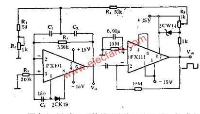 简易正弦波、矩形波发生器电路信号产生电路图