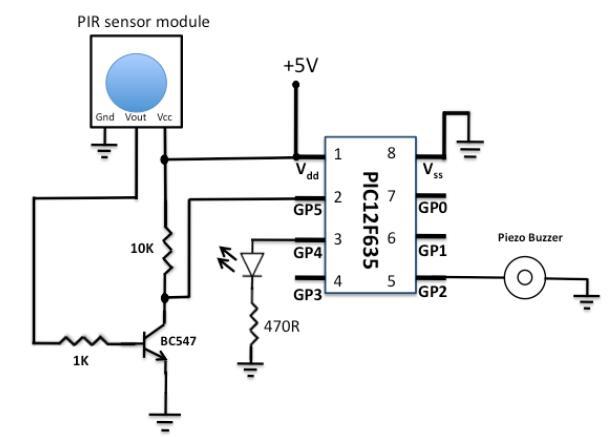 使用PIC单片机开发的被动红外传感器模块的报警器