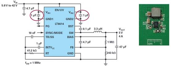 Figure 6. Typical Silent Switcher application schematic and how it looks on the PCB.