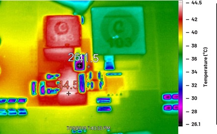 Thermal image of the 4-quadrant converter power train in load mode